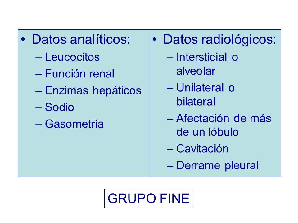 Datos analíticos: –Leucocitos –Función renal –Enzimas hepáticos –Sodio –Gasometría Datos radiológicos: –Intersticial o alveolar –Unilateral o bilatera