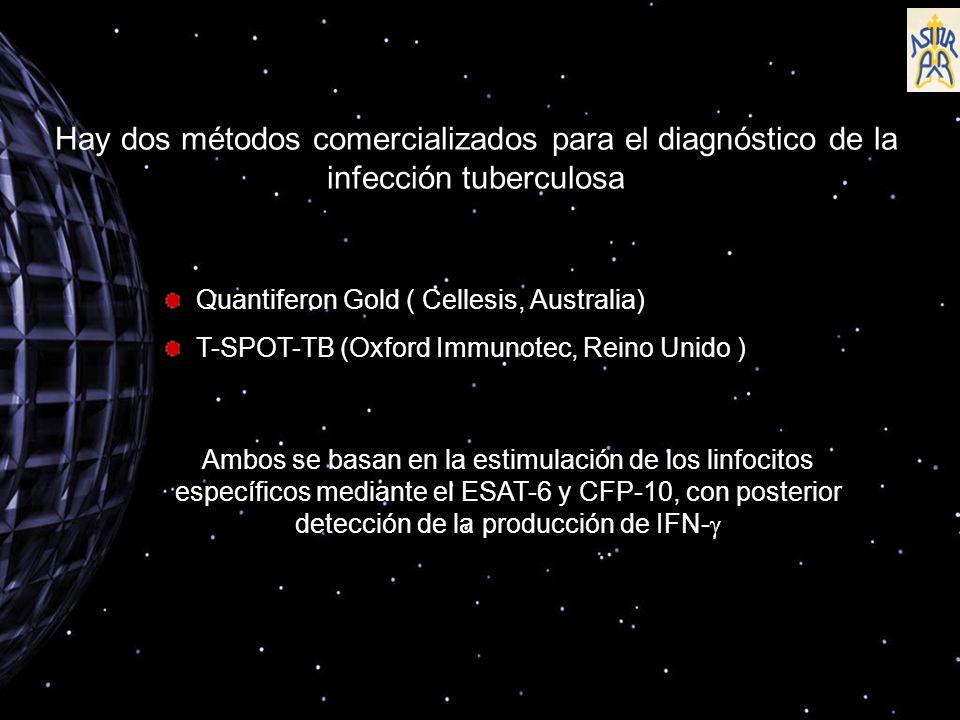 Hay dos métodos comercializados para el diagnóstico de la infección tuberculosa Quantiferon Gold ( Cellesis, Australia) T-SPOT-TB (Oxford Immunotec, Reino Unido ) Ambos se basan en la estimulación de los linfocitos específicos mediante el ESAT-6 y CFP-10, con posterior detección de la producción de IFN-