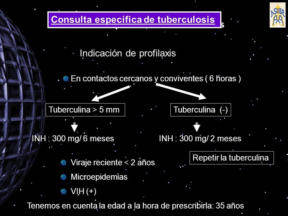 Indicación de profilaxis En contactos cercanos y conviventes ( 6 horas ) Tuberculina > 5 mmTuberculina (-) INH : 300 mg/ 6 mesesINH : 300 mg/ 2 meses Repetir la tuberculina Viraje reciente < 2 años Microepidemias VIH (+) Tenemos en cuenta la edad a la hora de prescribirla: 35 años Consulta específica de tuberculosis