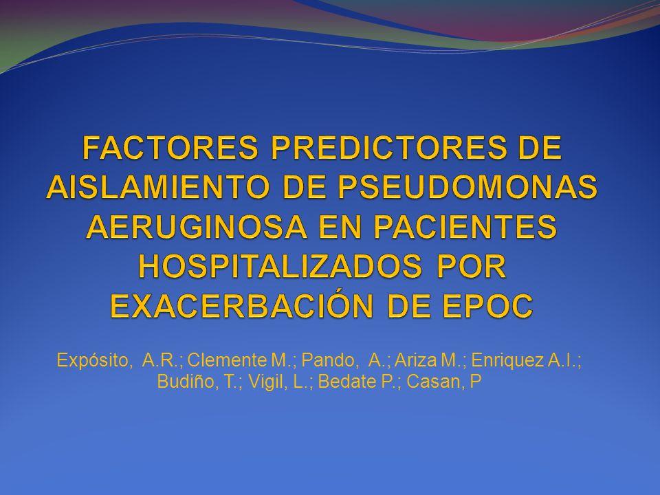 Expósito, A.R.; Clemente M.; Pando, A.; Ariza M.; Enriquez A.I.; Budiño, T.; Vigil, L.; Bedate P.; Casan, P