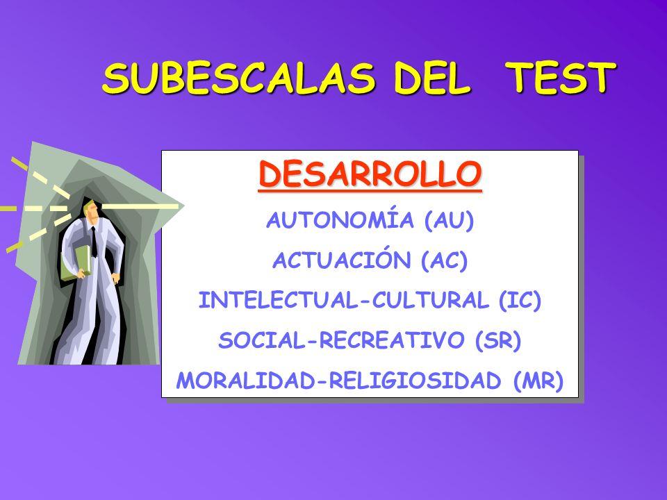 SUBESCALAS DEL TEST DESARROLLO AUTONOMÍA (AU) ACTUACIÓN (AC) INTELECTUAL-CULTURAL (IC) SOCIAL-RECREATIVO (SR) MORALIDAD-RELIGIOSIDAD (MR)DESARROLLO AU