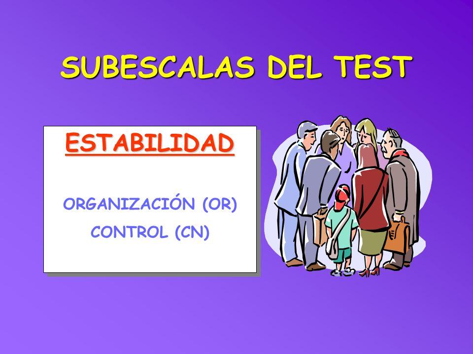 SUBESCALAS DEL TEST ESTABILIDAD ORGANIZACIÓN (OR) CONTROL (CN)ESTABILIDAD ORGANIZACIÓN (OR) CONTROL (CN)