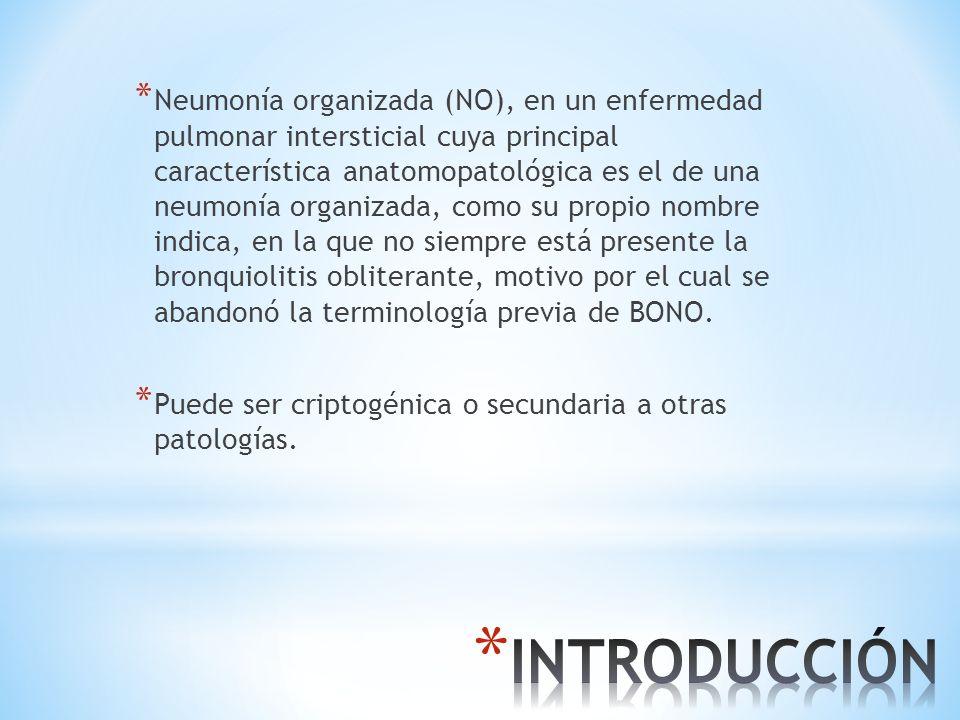 * Neumonía organizada (NO), en un enfermedad pulmonar intersticial cuya principal característica anatomopatológica es el de una neumonía organizada, c