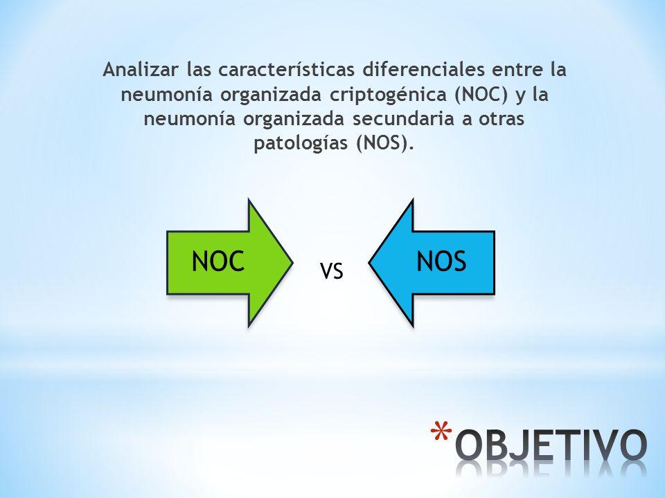Analizar las características diferenciales entre la neumonía organizada criptogénica (NOC) y la neumonía organizada secundaria a otras patologías (NOS