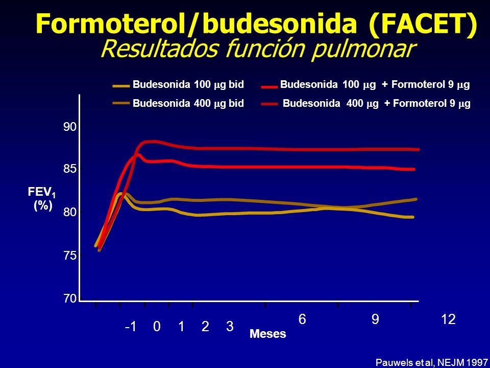 Formoterol/budesonida (FACET) Resultados función pulmonar Budesonida 100 g bid Budesonida 400 g bid Budesonida 100 g + Formoterol 9 g Budesonida 400 g