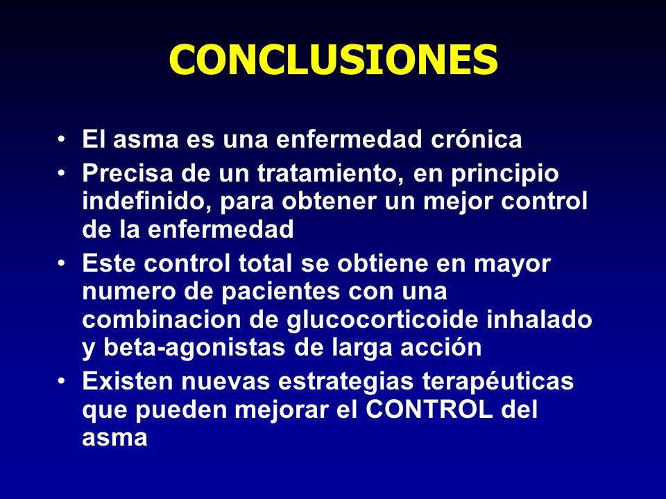 CONCLUSIONES El asma es una enfermedad crónica Precisa de un tratamiento, en principio indefinido, para obtener un mejor control de la enfermedad Este