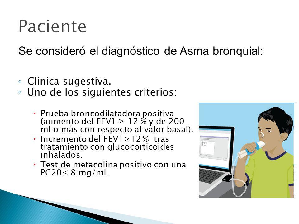 Paciente Clínica sugestiva. Uno de los siguientes criterios: Prueba broncodilatadora positiva (aumento del FEV1 12 % y de 200 ml o más con respecto al
