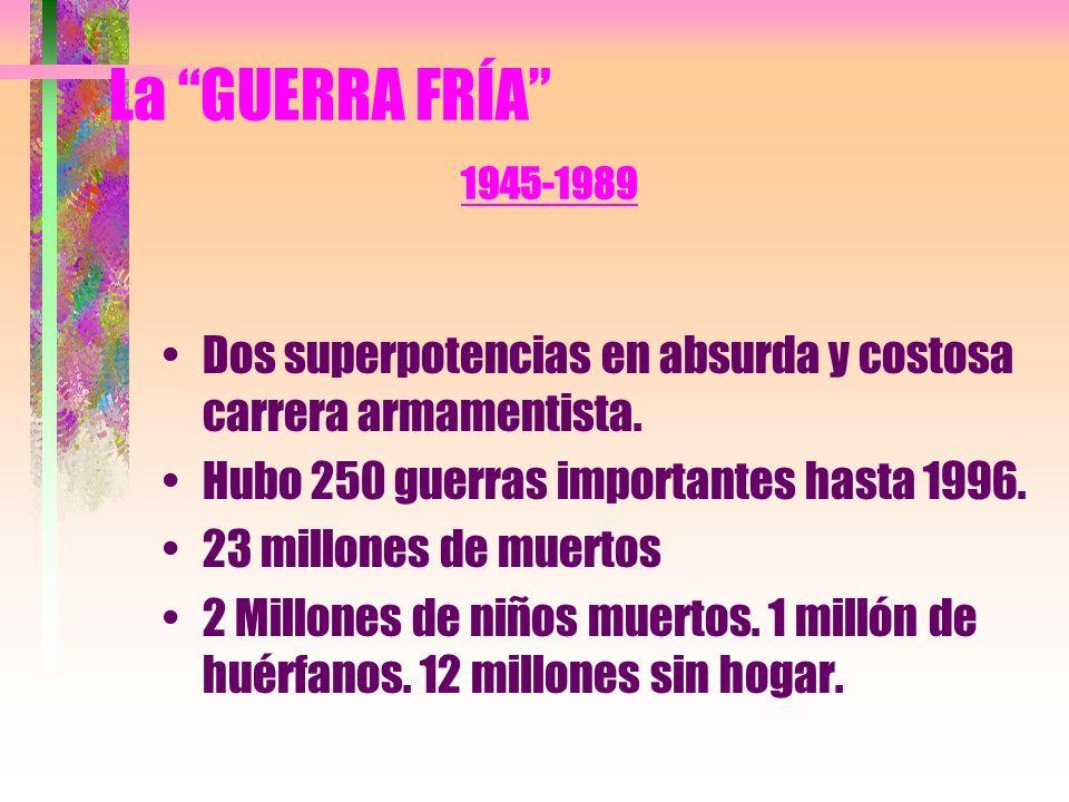 La GUERRA FRÍA 1945-1989 Dos superpotencias en absurda y costosa carrera armamentista.