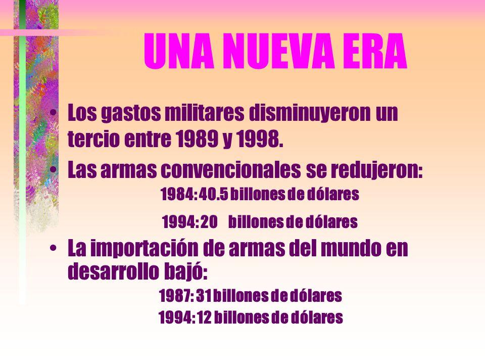 UNA NUEVA ERA Los gastos militares disminuyeron un tercio entre 1989 y 1998.