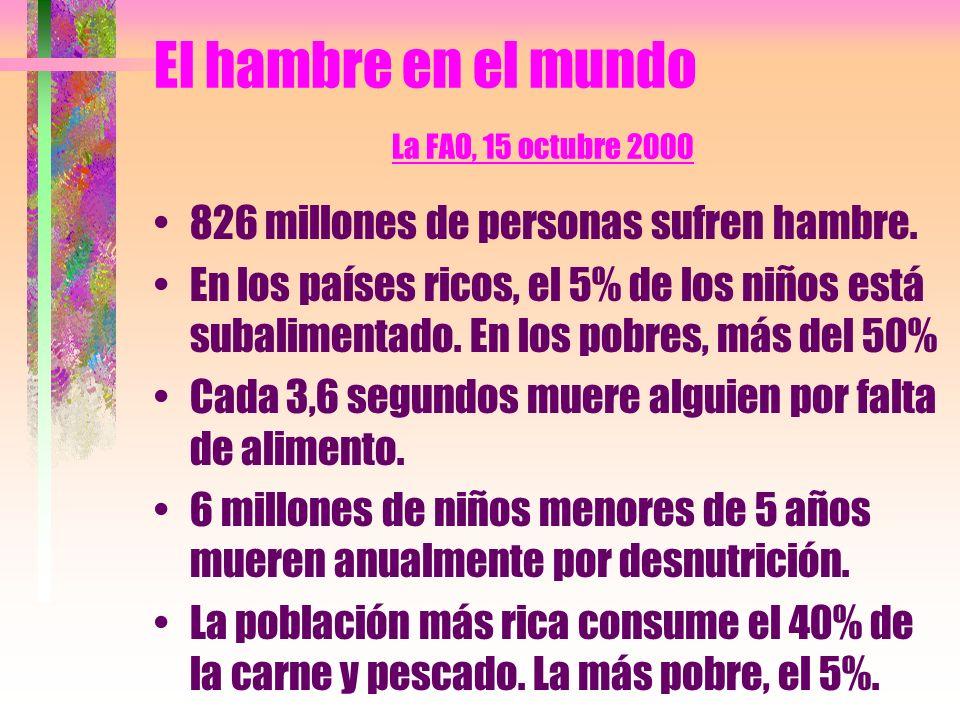 El hambre en el mundo La FAO, 15 octubre 2000 826 millones de personas sufren hambre.