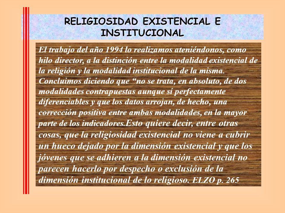 El trabajo del año 1994 lo realizamos ateniéndonos, como hilo director, a la distinción entre la modalidad existencial de la religión y la modalidad institucional de la misma.