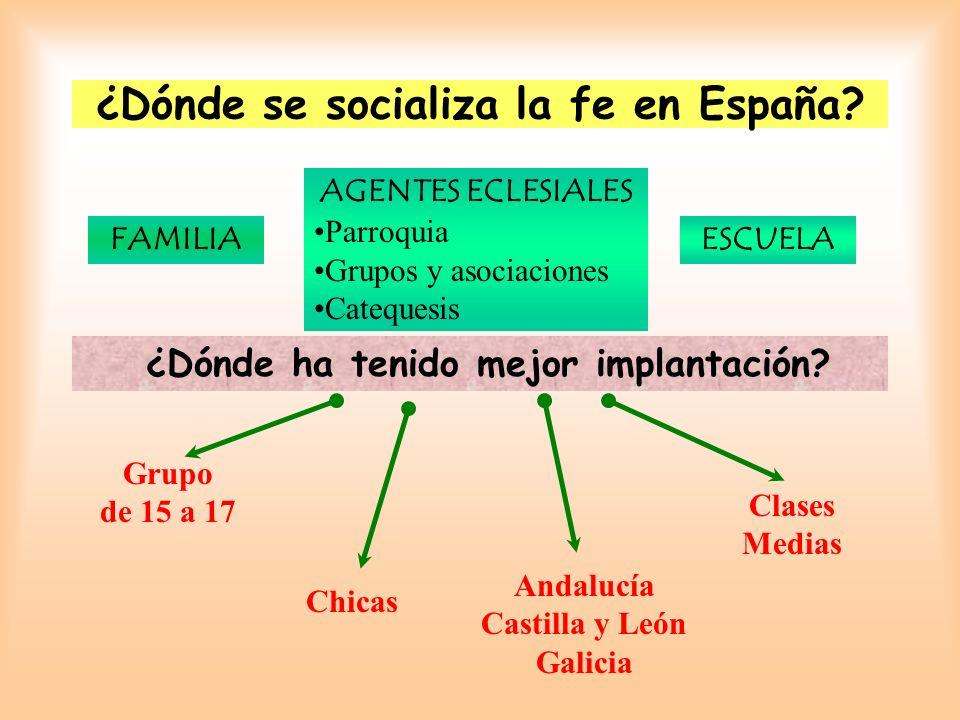 FAMILIA ¿Dónde ha tenido mejor implantación? AGENTES ECLESIALES Parroquia Grupos y asociaciones Catequesis ESCUELA Grupo de 15 a 17 Chicas Clases Medi