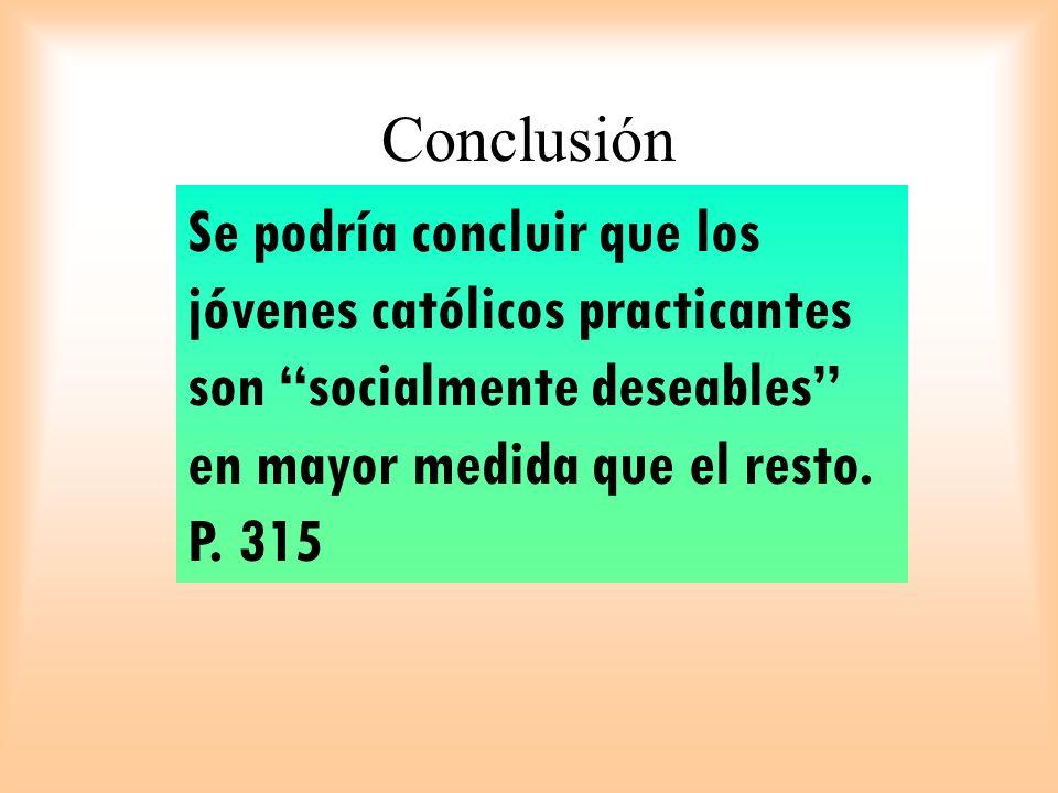 Se podría concluir que los jóvenes católicos practicantes son socialmente deseables en mayor medida que el resto. P. 315 Conclusión