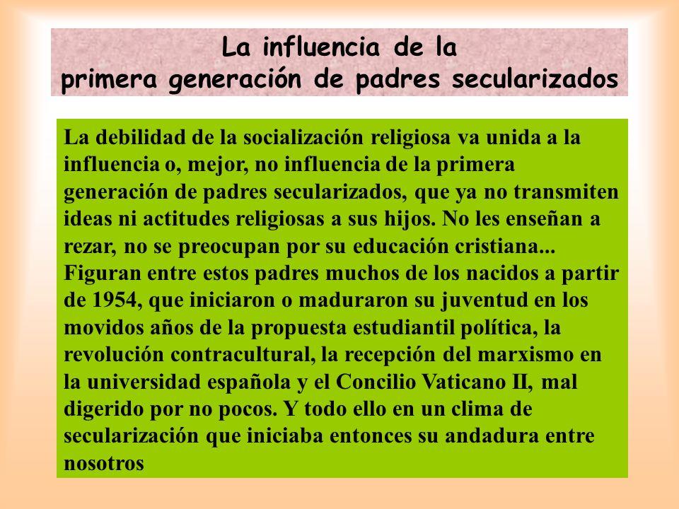 La influencia de la primera generación de padres secularizados La debilidad de la socialización religiosa va unida a la influencia o, mejor, no influe