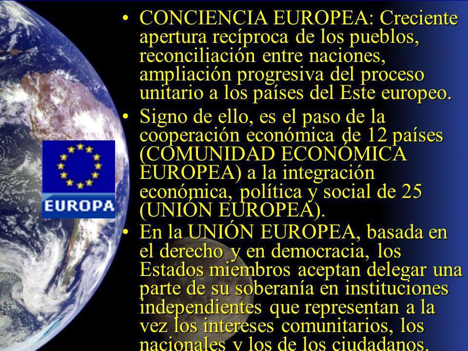 CONCIENCIA EUROPEA: Creciente apertura recíproca de los pueblos, reconciliación entre naciones, ampliación progresiva del proceso unitario a los países del Este europeo.CONCIENCIA EUROPEA: Creciente apertura recíproca de los pueblos, reconciliación entre naciones, ampliación progresiva del proceso unitario a los países del Este europeo.