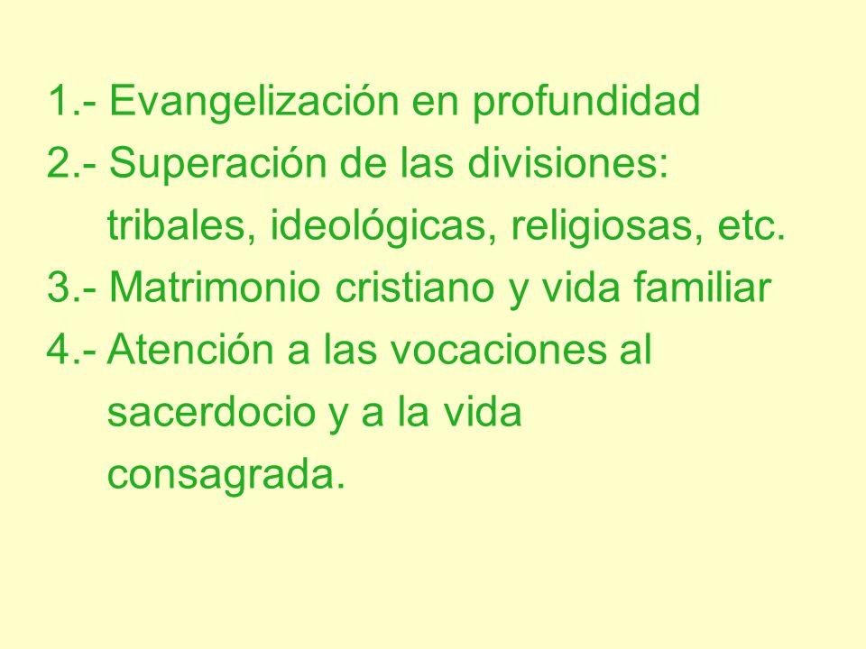 1.- Evangelización en profundidad 2.- Superación de las divisiones: tribales, ideológicas, religiosas, etc. 3.- Matrimonio cristiano y vida familiar 4