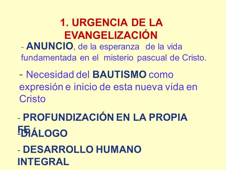 1. URGENCIA DE LA EVANGELIZACIÓN - PROFUNDIZACIÓN EN LA PROPIA FE - DESARROLLO HUMANO INTEGRAL - ANUNCIO, de la esperanza de la vida fundamentada en e