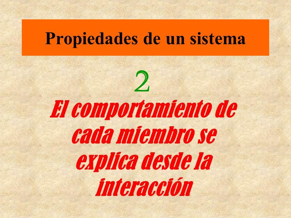 Propiedades de un sistema 2 El comportamiento de cada miembro se explica desde la interacción