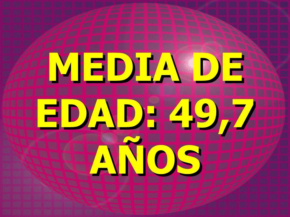MEDIA DE EDAD: 49,7 AÑOS MEDIA DE EDAD: 49,7 AÑOS