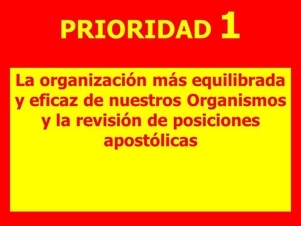 PRIORIDAD 1 La organización más equilibrada y eficaz de nuestros Organismos y la revisión de posiciones apostólicas