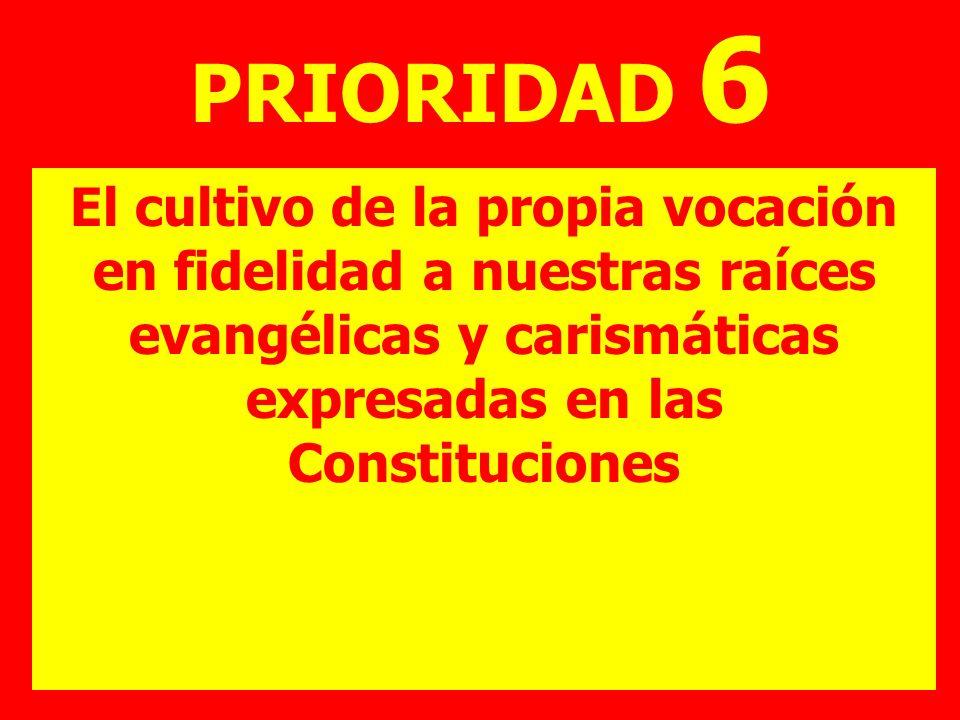 PRIORIDAD 6 El cultivo de la propia vocación en fidelidad a nuestras raíces evangélicas y carismáticas expresadas en las Constituciones