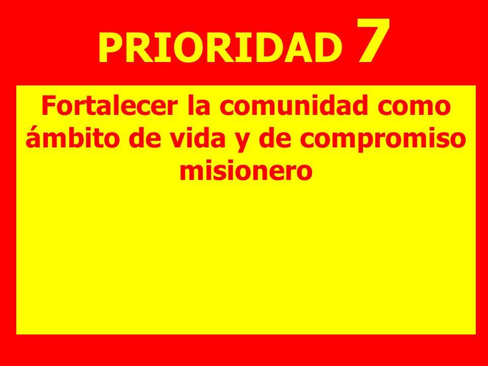 PRIORIDAD 7 Fortalecer la comunidad como ámbito de vida y de compromiso misionero