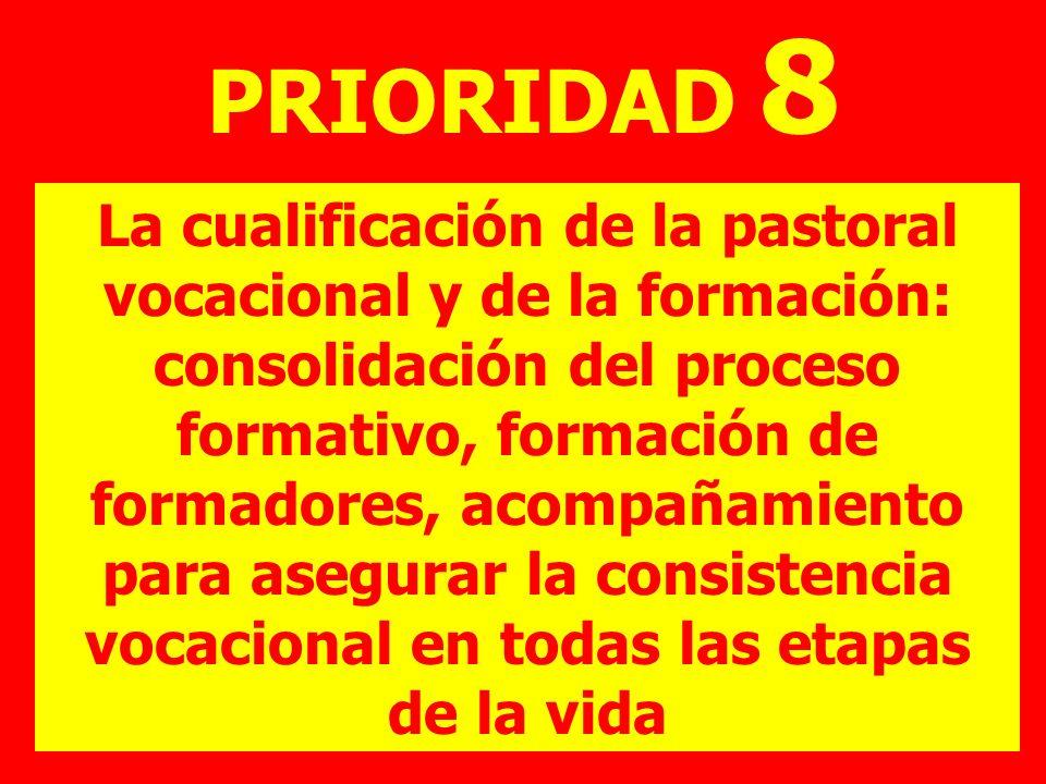 PRIORIDAD 8 La cualificación de la pastoral vocacional y de la formación: consolidación del proceso formativo, formación de formadores, acompañamiento