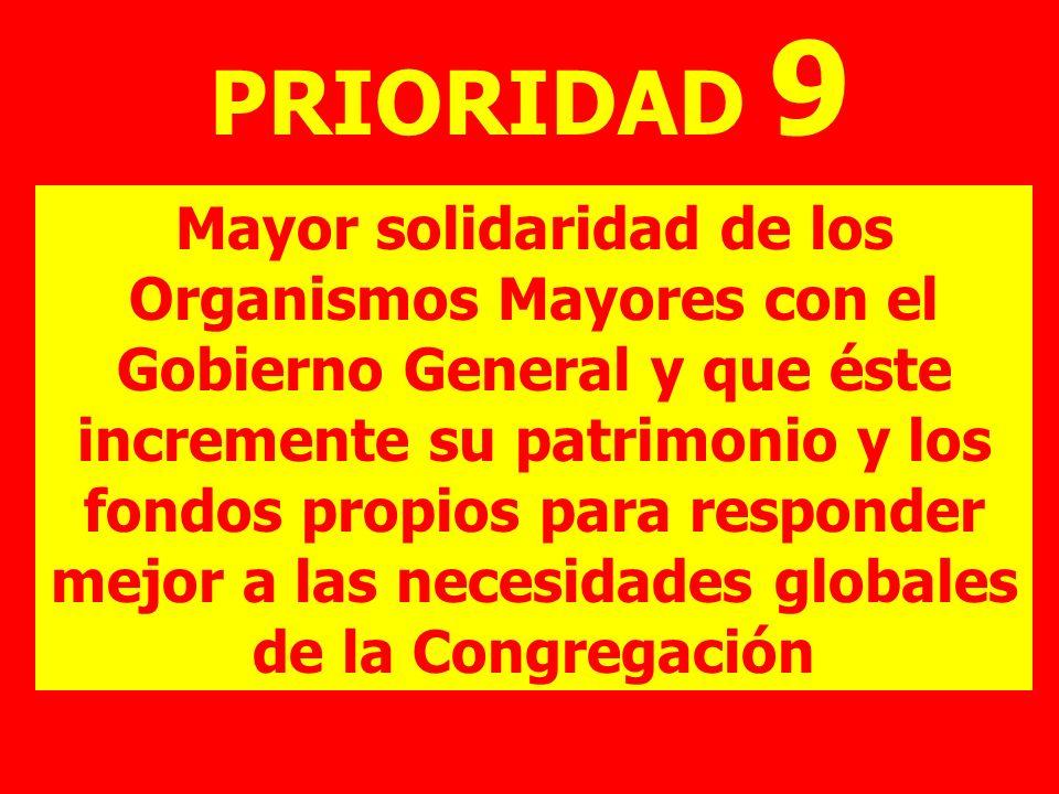 PRIORIDAD 9 Mayor solidaridad de los Organismos Mayores con el Gobierno General y que éste incremente su patrimonio y los fondos propios para responde