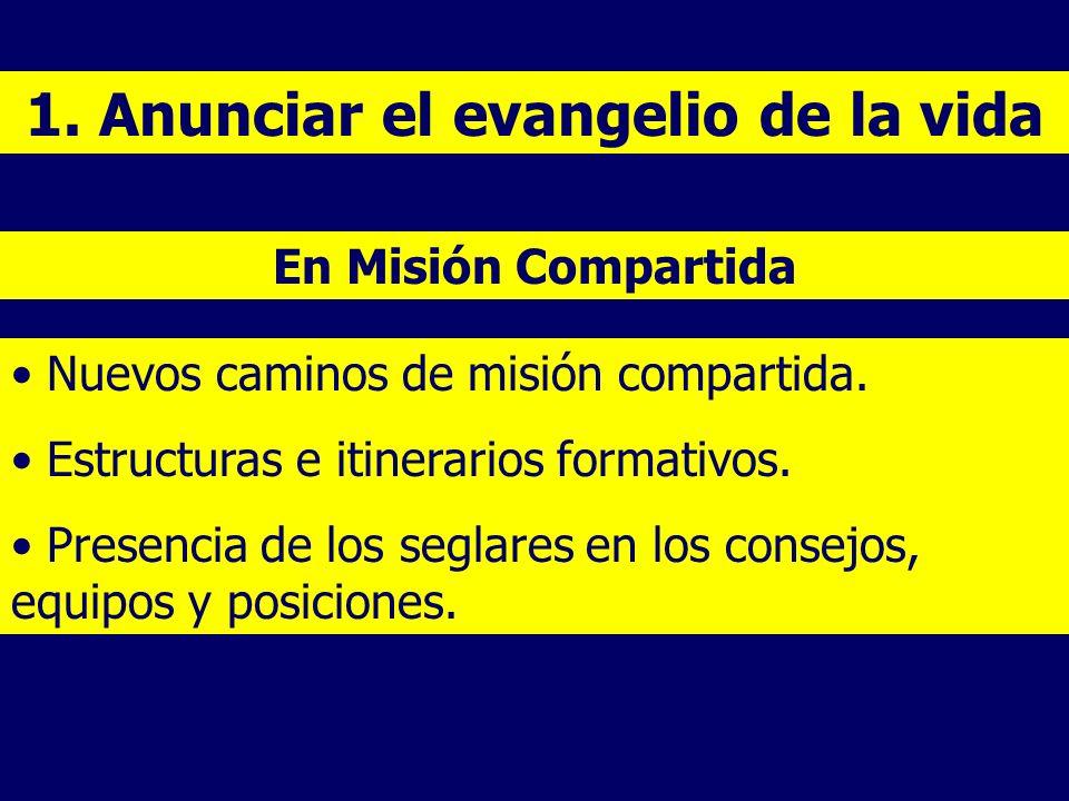 1. Anunciar el evangelio de la vida Nuevos caminos de misión compartida. Estructuras e itinerarios formativos. Presencia de los seglares en los consej