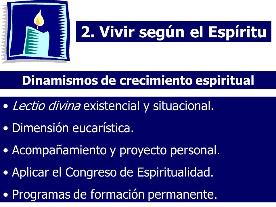 2. Vivir según el Espíritu Dinamismos de crecimiento espiritual Lectio divina existencial y situacional. Dimensión eucarística. Acompañamiento y proye