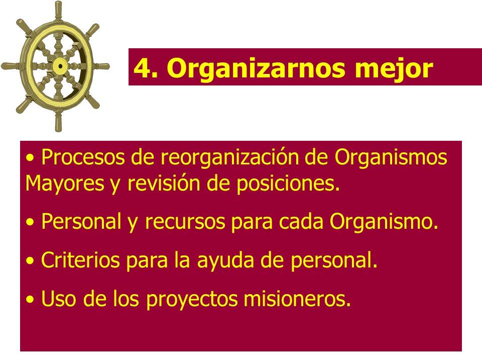 4. Organizarnos mejor Procesos de reorganización de Organismos Mayores y revisión de posiciones. Personal y recursos para cada Organismo. Criterios pa