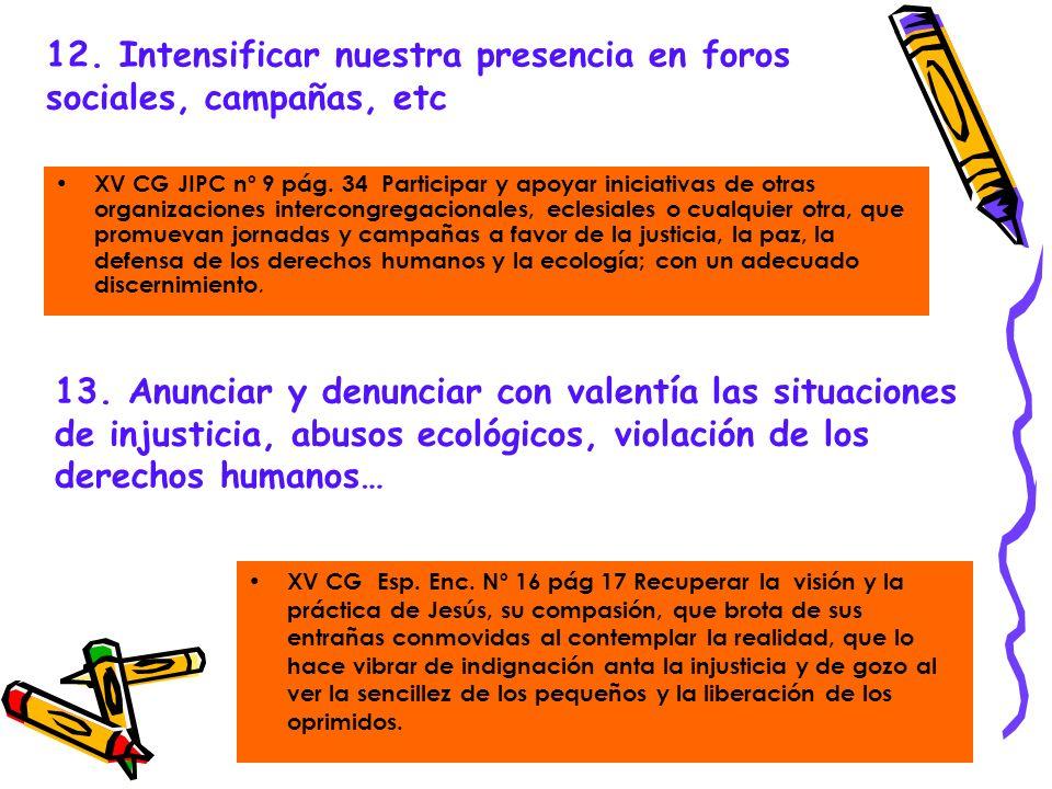12. Intensificar nuestra presencia en foros sociales, campañas, etc XV CG JIPC nº 9 pág. 34 Participar y apoyar iniciativas de otras organizaciones in