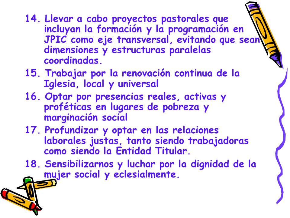 14. Llevar a cabo proyectos pastorales que incluyan la formación y la programación en JPIC como eje transversal, evitando que sean dimensiones y estru
