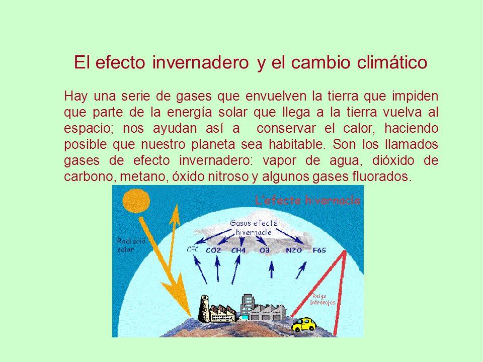 El efecto invernadero y el cambio climático Hay una serie de gases que envuelven la tierra que impiden que parte de la energía solar que llega a la tierra vuelva al espacio; nos ayudan así a conservar el calor, haciendo posible que nuestro planeta sea habitable.