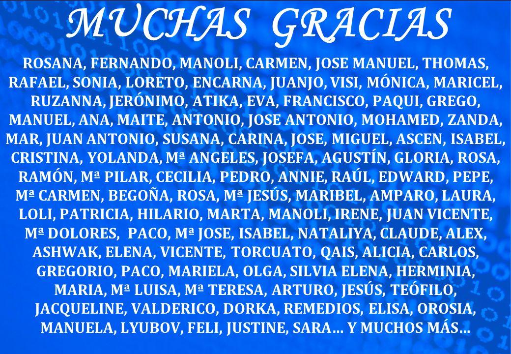 MUCHAS GRACIAS ROSANA, FERNANDO, MANOLI, CARMEN, JOSE MANUEL, THOMAS, RAFAEL, SONIA, LORETO, ENCARNA, JUANJO, VISI, MÓNICA, MARICEL, RUZANNA, JERÓNIMO, ATIKA, EVA, FRANCISCO, PAQUI, GREGO, MANUEL, ANA, MAITE, ANTONIO, JOSE ANTONIO, MOHAMED, ZANDA, MAR, JUAN ANTONIO, SUSANA, CARINA, JOSE, MIGUEL, ASCEN, ISABEL, CRISTINA, YOLANDA, Mª ANGELES, JOSEFA, AGUSTÍN, GLORIA, ROSA, RAMÓN, Mª PILAR, CECILIA, PEDRO, ANNIE, RAÚL, EDWARD, PEPE, Mª CARMEN, BEGOÑA, ROSA, Mª JESÚS, MARIBEL, AMPARO, LAURA, LOLI, PATRICIA, HILARIO, MARTA, MANOLI, IRENE, JUAN VICENTE, Mª DOLORES, PACO, Mª JOSE, ISABEL, NATALIYA, CLAUDE, ALEX, ASHWAK, ELENA, VICENTE, TORCUATO, QAIS, ALICIA, CARLOS, GREGORIO, PACO, MARIELA, OLGA, SILVIA ELENA, HERMINIA, MARIA, Mª LUISA, Mª TERESA, ARTURO, JESÚS, TEÓFILO, JACQUELINE, VALDERICO, DORKA, REMEDIOS, ELISA, OROSIA, MANUELA, LYUBOV, FELI, JUSTINE, SARA… Y MUCHOS MÁS…
