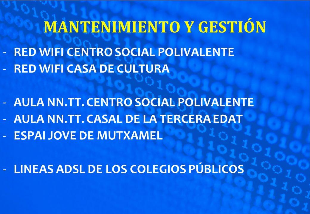 MANTENIMIENTO Y GESTIÓN -RED WIFI CENTRO SOCIAL POLIVALENTE -RED WIFI CASA DE CULTURA -AULA NN.TT. CENTRO SOCIAL POLIVALENTE -AULA NN.TT. CASAL DE LA