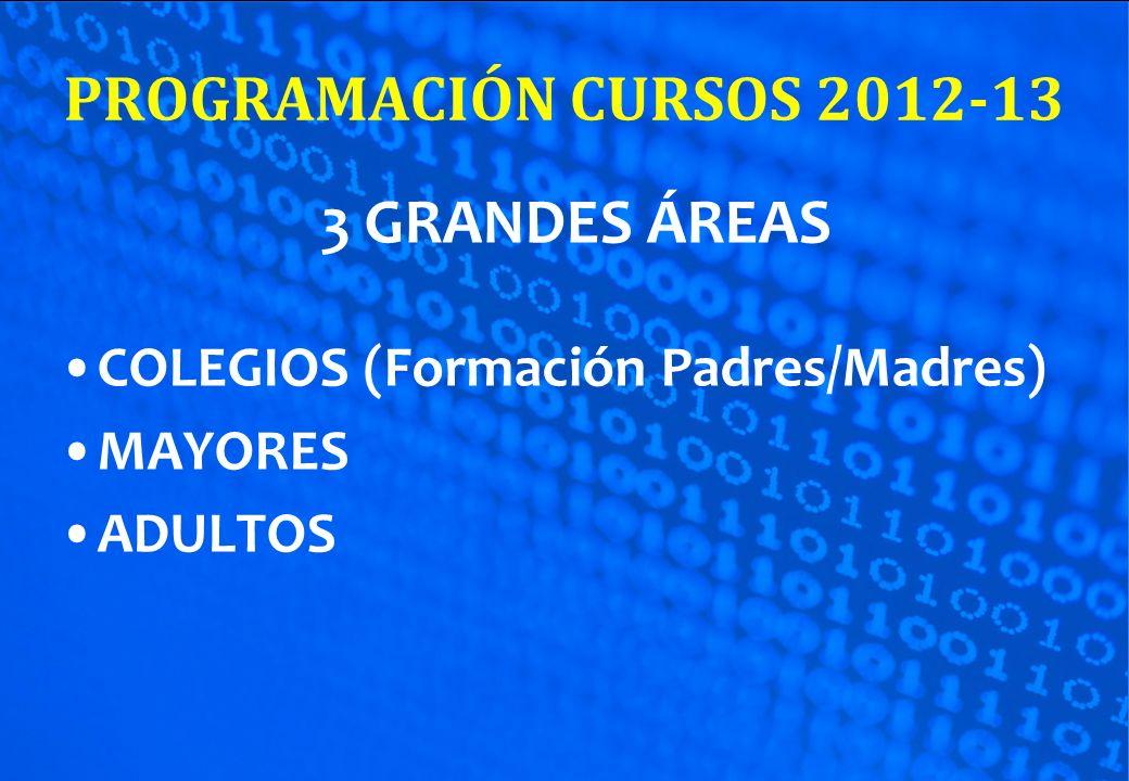 PROGRAMACIÓN CURSOS 2012-13 3 GRANDES ÁREAS COLEGIOS (Formación Padres/Madres) MAYORES ADULTOS