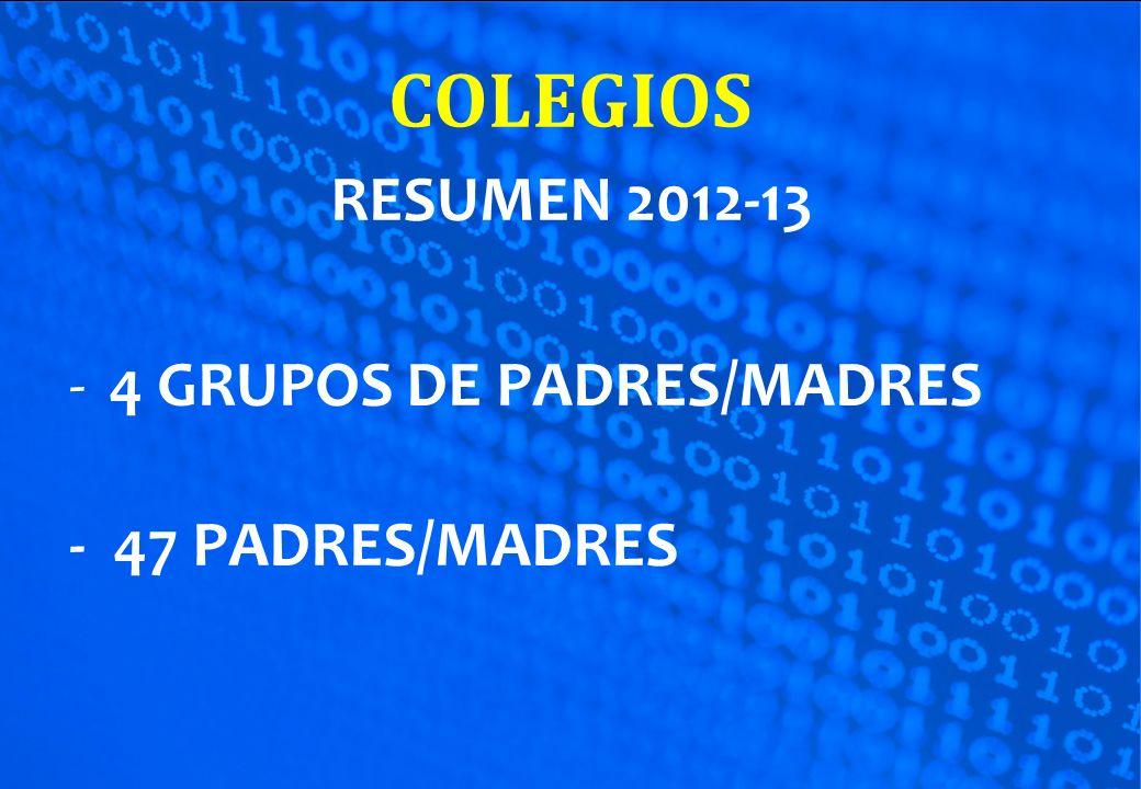 RESUMEN 2012-13 -4 GRUPOS DE PADRES/MADRES - 47 PADRES/MADRES
