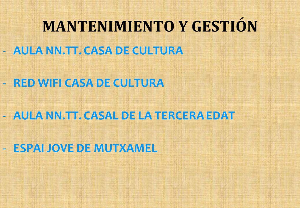 MANTENIMIENTO Y GESTIÓN -AULA NN.TT. CASA DE CULTURA -RED WIFI CASA DE CULTURA -AULA NN.TT. CASAL DE LA TERCERA EDAT -ESPAI JOVE DE MUTXAMEL