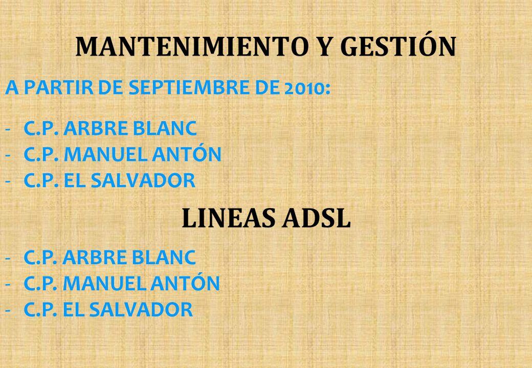MANTENIMIENTO Y GESTIÓN A PARTIR DE SEPTIEMBRE DE 2010: -C.P. ARBRE BLANC -C.P. MANUEL ANTÓN -C.P. EL SALVADOR LINEAS ADSL -C.P. ARBRE BLANC -C.P. MAN