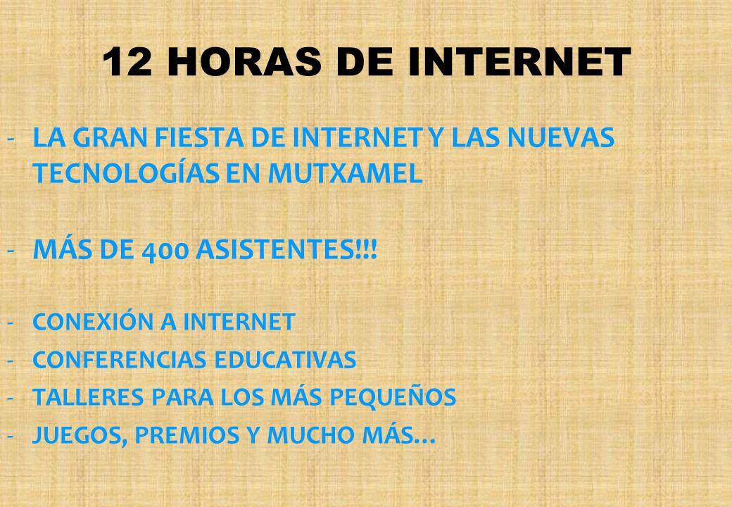 12 HORAS DE INTERNET -L-LA GRAN FIESTA DE INTERNET Y LAS NUEVAS TECNOLOGÍAS EN MUTXAMEL -M-MÁS DE 400 ASISTENTES!!! -C-CONEXIÓN A INTERNET -C-CONFEREN