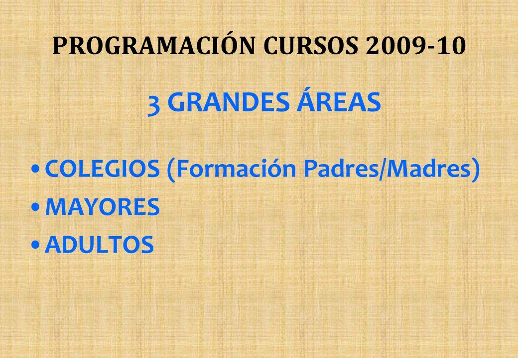 PROGRAMACIÓN CURSOS 2009-10 3 GRANDES ÁREAS COLEGIOS (Formación Padres/Madres) MAYORES ADULTOS