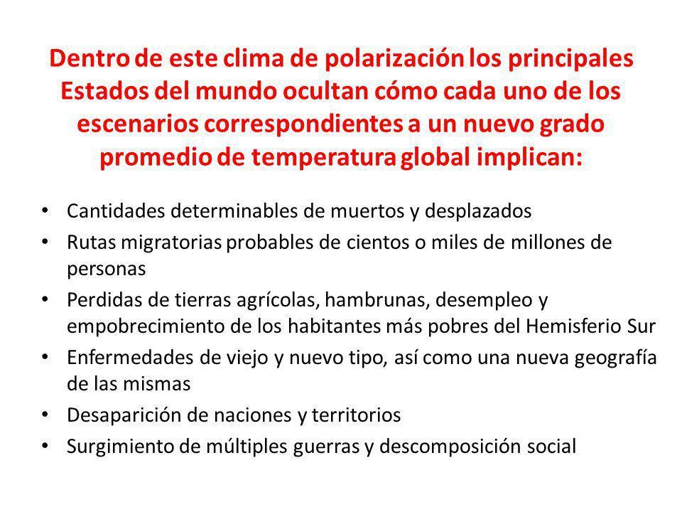 Dentro de este clima de polarización los principales Estados del mundo ocultan cómo cada uno de los escenarios correspondientes a un nuevo grado prome