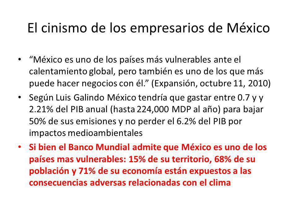 El cinismo de los empresarios de México México es uno de los países más vulnerables ante el calentamiento global, pero también es uno de los que más p