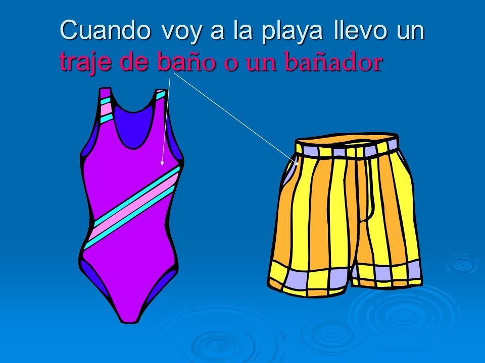 Cuando voy a la playa llevo un traje de ba ño o un bañador