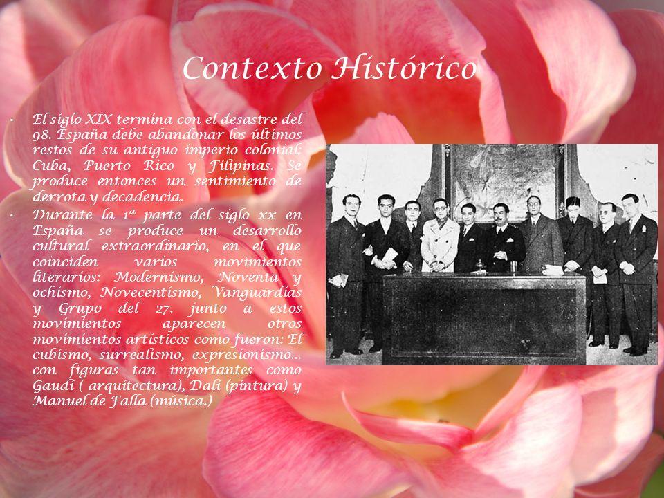 Contexto Histórico El siglo XIX termina con el desastre del 98. España debe abandonar los últimos restos de su antiguo imperio colonial: Cuba, Puerto