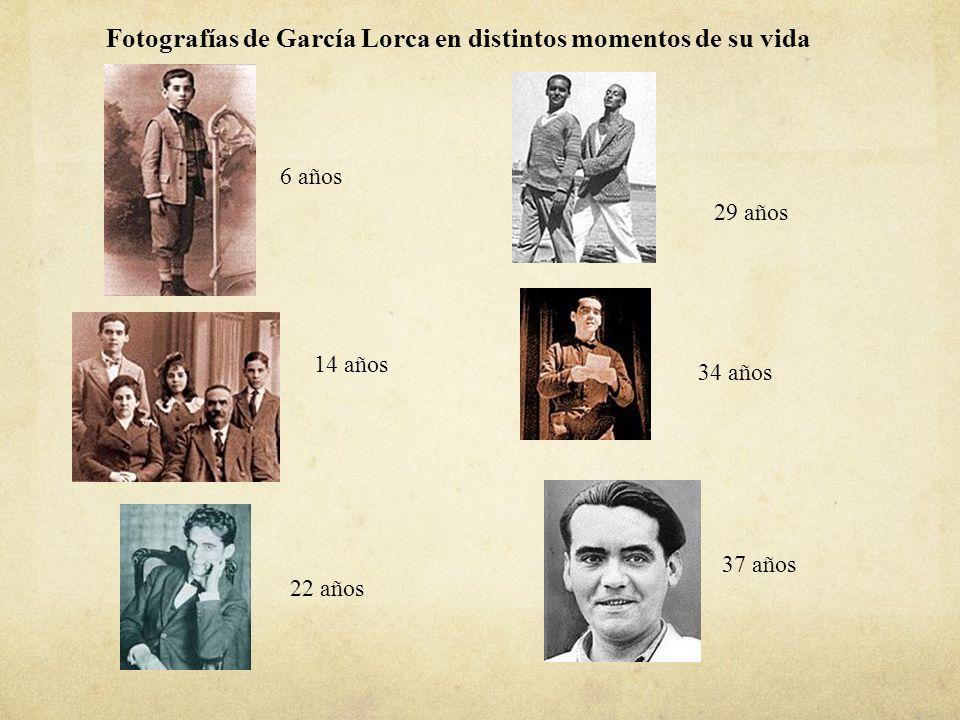 Fotografías de García Lorca en distintos momentos de su vida 6 años 14 años 22 años 29 años 34 años 37 años