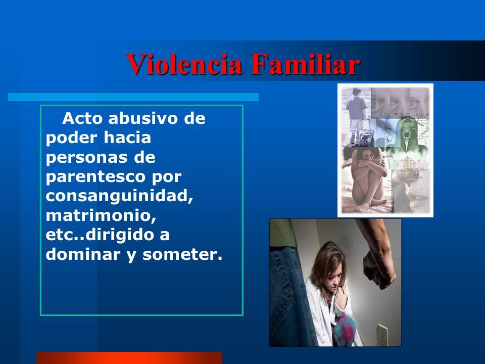 Violencia Familiar Acto abusivo de poder hacia personas de parentesco por consanguinidad, matrimonio, etc..dirigido a dominar y someter.