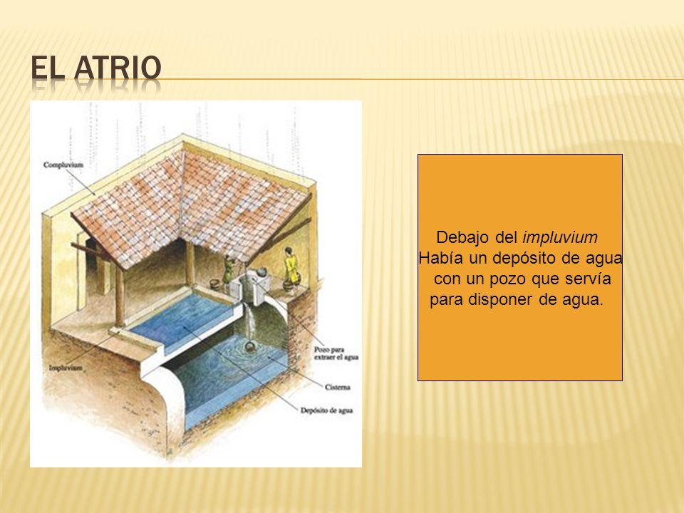 Debajo del impluvium Había un depósito de agua con un pozo que servía para disponer de agua.