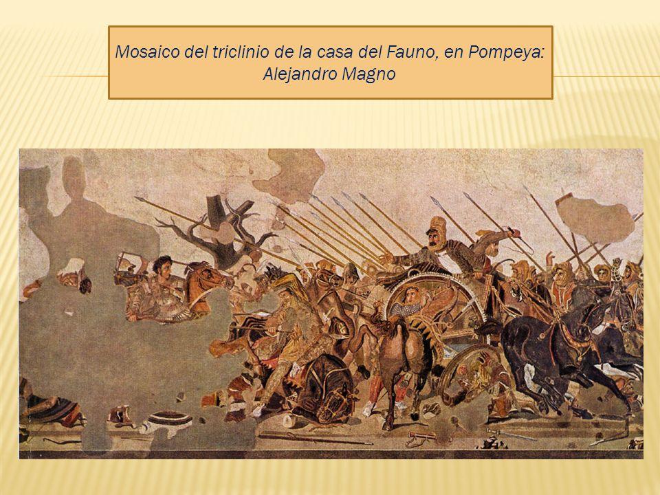 Mosaico del triclinio de la casa del Fauno, en Pompeya: Alejandro Magno